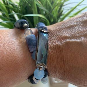 Silpada blue glass and bead stretch bracelet